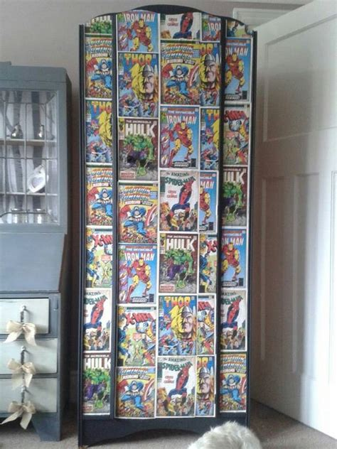 Decoupage Wardrobe - boys wardrobe with comic decoupage comic book bathroom