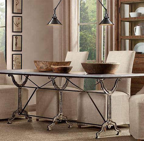 zinc top table restoration hardware 72 quot factory zinc cast iron rectangular dining table