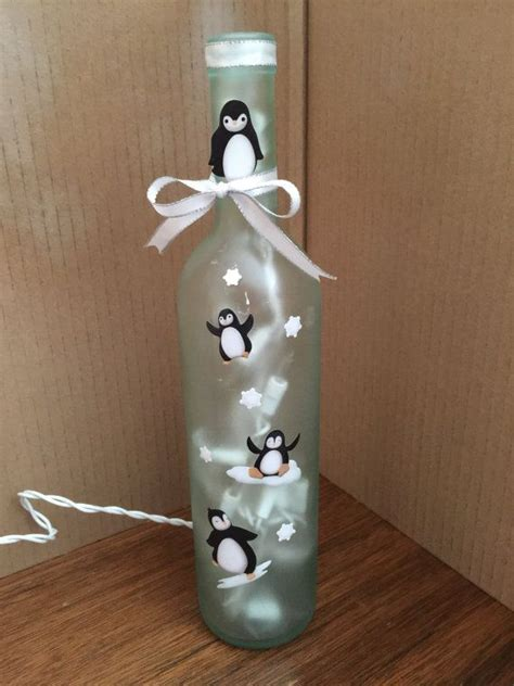Homemade Planters Frosted Penguin Wine Bottle Lamp Penguins Frosting And