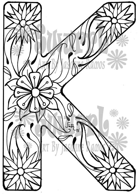 Instant Download Coloring Page Monogram Letter K By Swurrl On Etsy K Coloring Pages