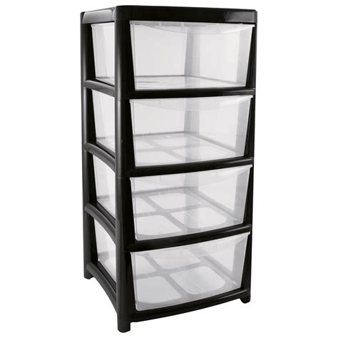 Storage Tower With Drawers by 4 Drawer Storage Tower Black At Homebase Co Uk