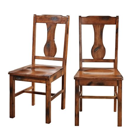 Solid Wood Dining Room Chairs Walker Edison Solid Wood Oak Dining Chairs Set Of 2 Home Furniture Dining Kitchen