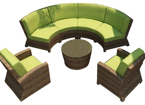 Cypress 5 Piece Outdoor Curved Sectional Set Kiwi Curved Outdoor Furniture
