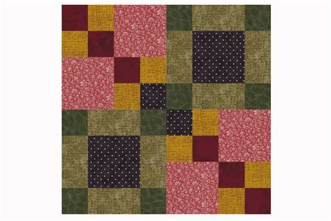 Patchwork Square Patterns - four square patchwork quilt block pattern