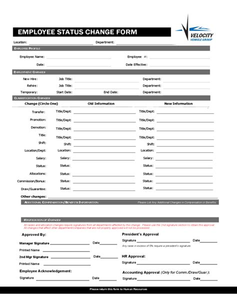 Employee Status Change Forms Word Excel Sles Personnel Form Template Excel