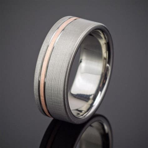 rose gold pinstripe flanked ring spexton custom jewelry