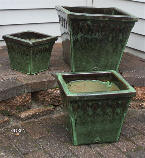 provincial square flower pots tropical green set of 3