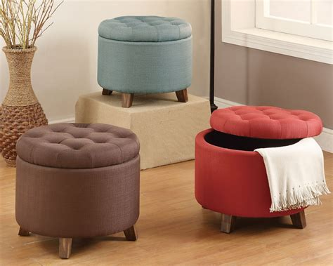 round fabric storage ottoman accent organizer round storage ottoman footstool pouf upholstered fabric options ebay