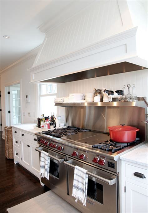 small white kitchen with steel hood beadboard kitchen hood transitional kitchen angie