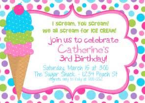 icecream birthday party invitation for girls digital file