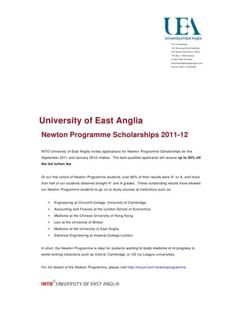 Scholarship Announcement Letter Into Uea Newton Programme Scholarship Announcement