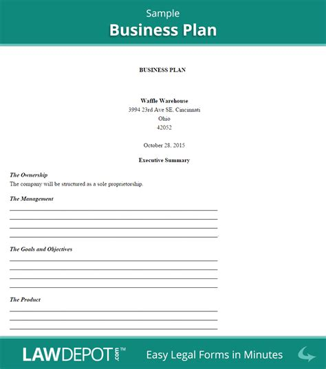 Business Plan Template Us Lawdepot Sole Proprietorship Business Plan Template