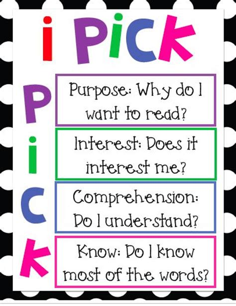 printable book poster i pick poster guided reading pinterest i pick