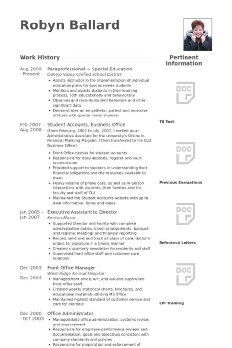 Paraprofessional Resume by Paraprofessional Resume Sles Visualcv Resume Sles