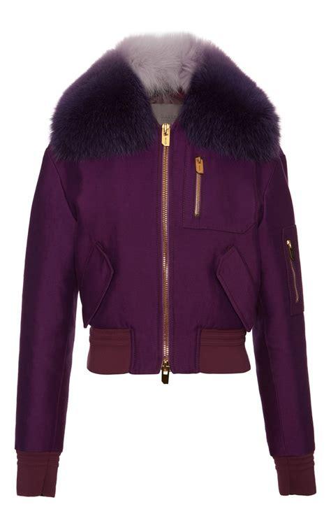 Dpurple Coat Blazer Ungu Korea Jaket bally purple bomber jacket with fur collar in purple lyst