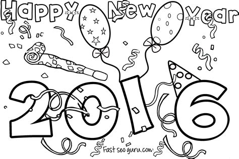 Happy New Year 2016 Printable Coloring Pages Free New Years Colouring Pages