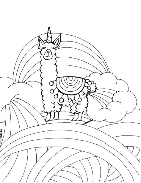 Coloring Pages Pdf by Llamacorn Coloring Page Pdf Printable By Journalingart