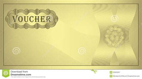 blank voucher template free voucher gold stock vector illustration of pattern