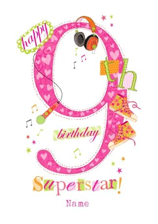 Happy Birthday Wishes For 9 Years Abacus Nine Year Old Birthday Card Music Superstar 9