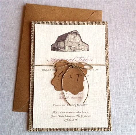 etsy paper lemon rustic barn burlap wedding invitations