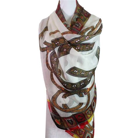 patterned silk scarf wrappings