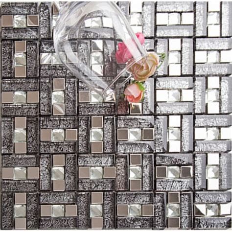 stainless steel mosaic backsplash silver 304 stainless steel mosaic tile black glass