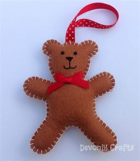 christmas teddy bear felt decoration x1 felt ornaments