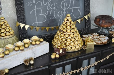 Gold and black Christmas New Years Holiday dessert table 12 1024x682
