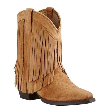 ariat 174 kid s gold rustic bark chestnut suede fringe