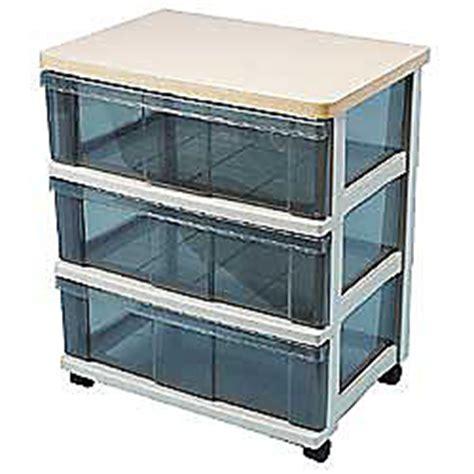 Iris Plastic Drawers by Iris 3 Drawer Medium Wide Wood Top Storage System Medium