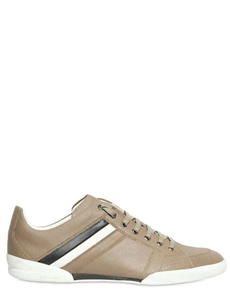 Lanvin Canvas Printed Sneakers homme canvas printed leather sneakers in for