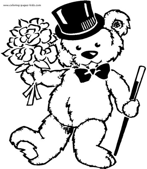 teddy bear with rose coloring page teddy bear coloring pages getcoloringpages com
