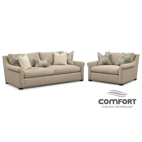 comfort living furniture robertson comfort sofa and chair and a half set beige
