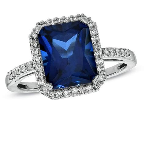emerald cut lab created blue and white sapphire ring in