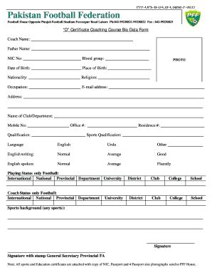 football registration form template sports certificates forms and templates fillable