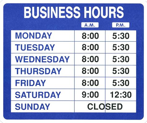 Template Office Hours Template Opening Hours Sign Template