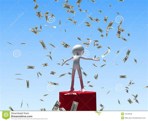 Money Winning - winning man under falling money royalty free stock photos image 15276048