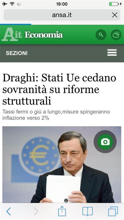 governatore della centrale europea obiettivo informazione draghi chiede la sovranita nazionale