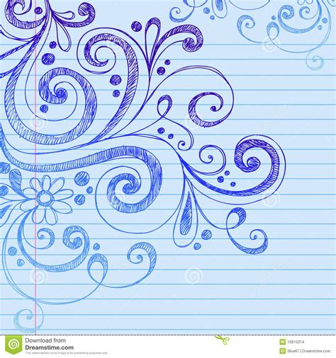 doodle on paper sketchy doodles on notebook paper vector stock images