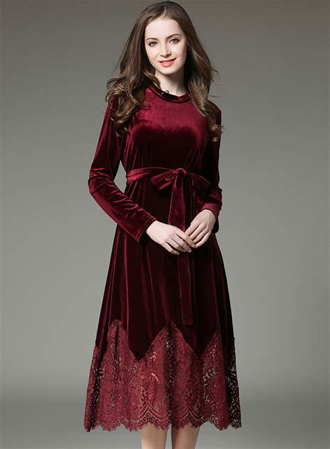 Sleeve Velvet Dress fashion sleeve lace velvet dress with belt oasap