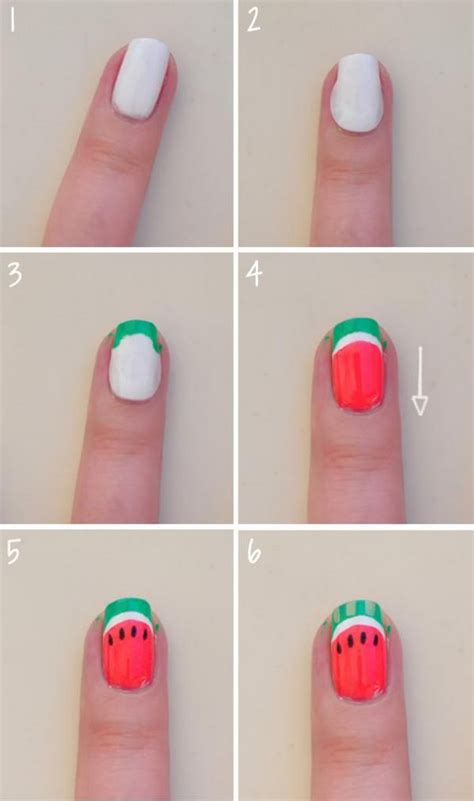 tutorial watermelon nail design cute and colorful summer nails design ideas with fruits