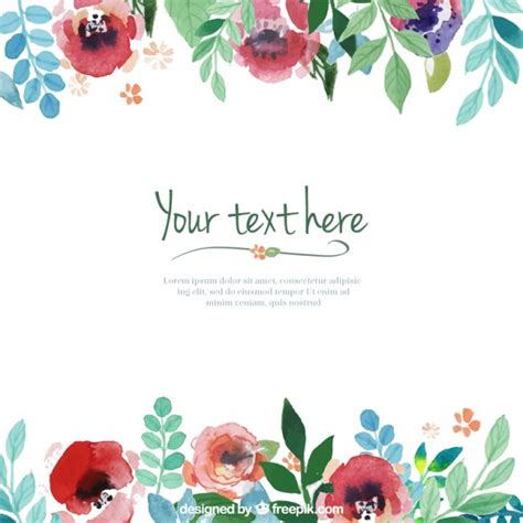 hand painted flowers template vector