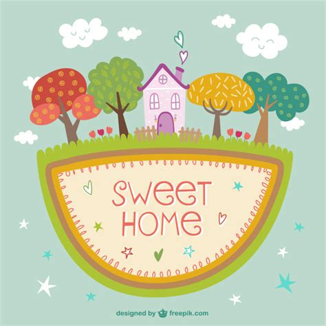 sweet home with trees vector free
