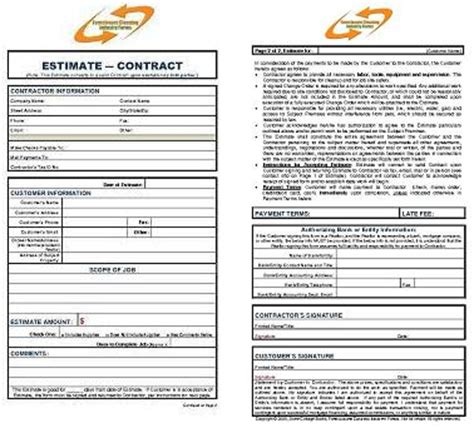 foreclosure cleaning estimate contract form