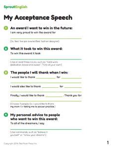 Writing Activity My Acceptance Speech Sprout English Award Speech Template