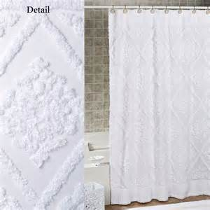 white cotton chenille shower curtain