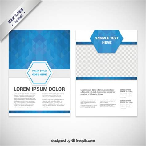 template for brochures brochure template with blue polygons vector free
