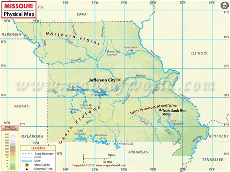 map of usa missouri river physical map of missouri