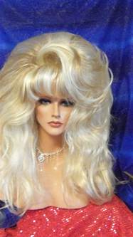 bimbo hairpieces wigs drag queen big smooth frosted shown long layers thick