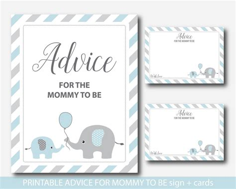 to be advice cards template blue elephant advice for to be cards and sign